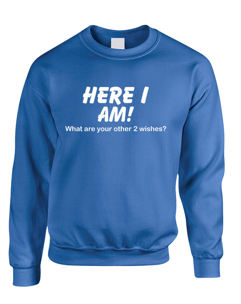 Adult Sweatshirt Here I Am What Are Your Other 2 Wishes Humor