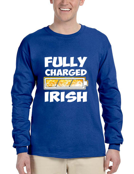 Men's Long Sleeve Fully Charged Irish St Patrick's Day Shirt - ALLNTRENDSHOP - 3