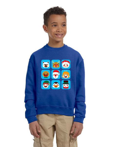 Kids Crewneck Christmas Icons Cute Holiday Symbols Top - ALLNTRENDSHOP - 4