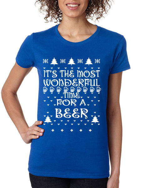 Women's T Shirt It's Most Wonderful Time for Beer Ugly Xmas Shirt - ALLNTRENDSHOP - 4