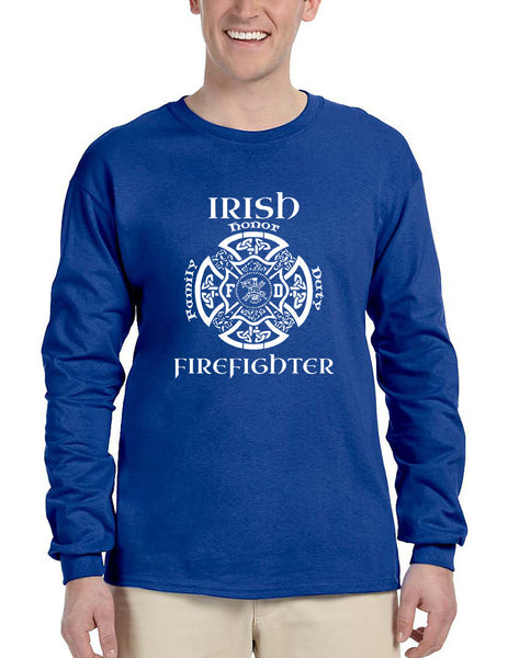 Men's Long Sleeve Irish Firefighter St Patrick's Patry Irish Tee - ALLNTRENDSHOP - 3