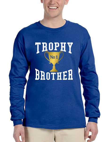 Men's Long Sleeve Trophy Brother Love Family Gift Graphic Tee - ALLNTRENDSHOP - 6