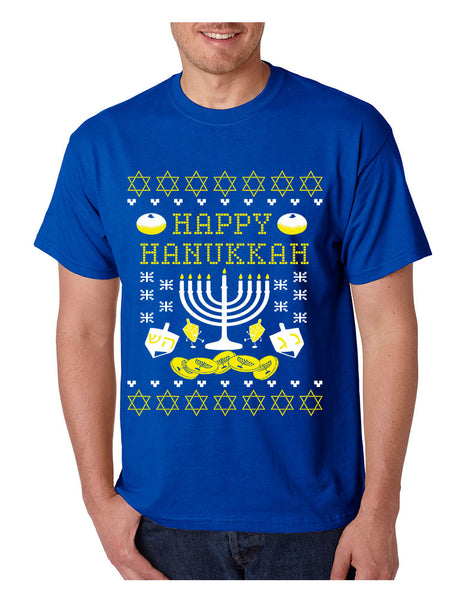 Men's T Shirt Happy Hanukkah Menorah Jewish T Shirt - ALLNTRENDSHOP - 4