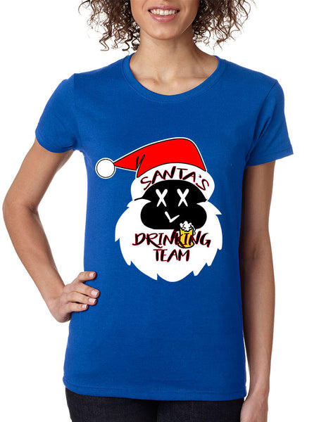 Women's Shirt Santa's Drinking Team Funny Ugly Xmas Shirt - ALLNTRENDSHOP - 1