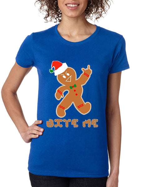 Women's T Shirt Bite Me Gingerbread Ugly Christmas Funny Cool Gift - ALLNTRENDSHOP - 3