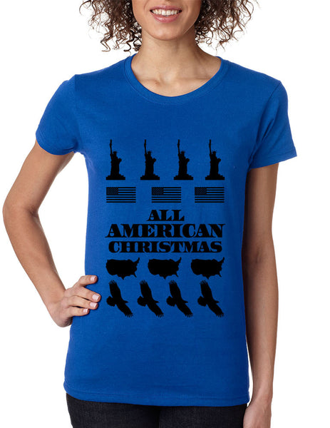 Women's T Shirt Merry American Christmas Ugly Sweater USA Top - ALLNTRENDSHOP - 3