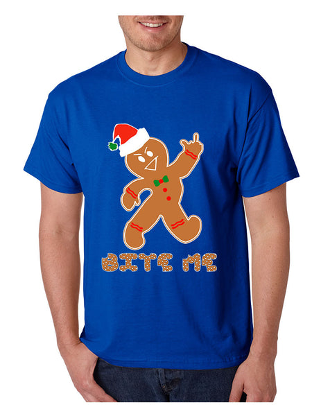Men's T Shirt Bite Me Gingerbread Ugly Christmas Funny Gift Cool Tee - ALLNTRENDSHOP - 2