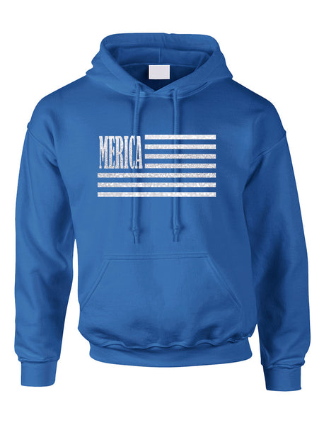 Adult Hoodie Merica Glitter White Flag 4th Of July USA Top
