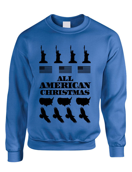 Adult Crewneck American Christmas Ugly Sweater Love USA Top - ALLNTRENDSHOP - 2