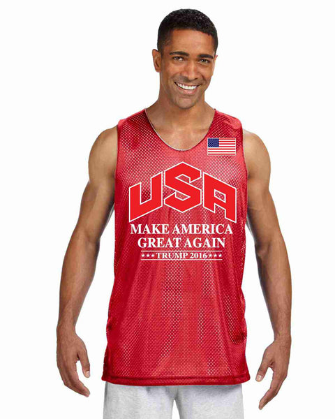 Men's Olympic Mesh Tank TRUMP 2016 Great Again Shirt - ALLNTRENDSHOP - 6
