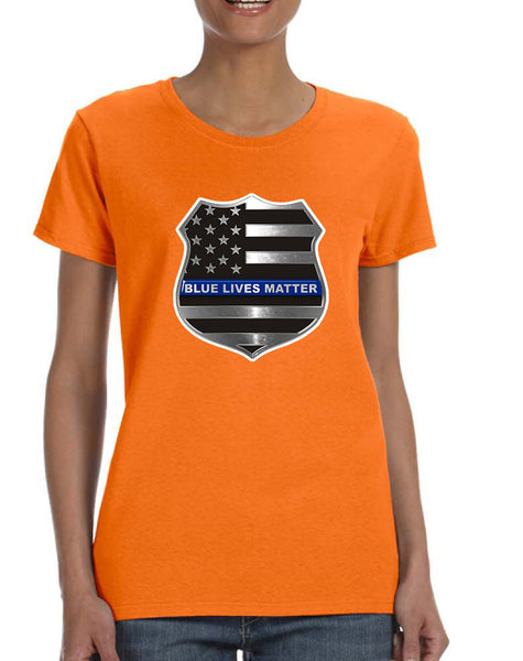 Women's T Shirt Blue Lives Matter American Flag Tee