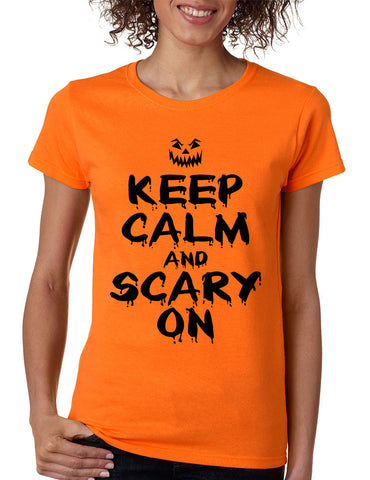 Women's T Shirt Keep Calm And Scary On Halloween Costume Tee - ALLNTRENDSHOP