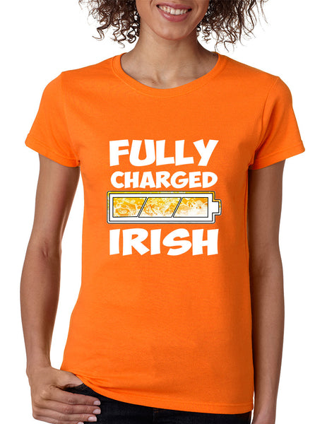 Women's T Shirt Fully Charged Irish St Patrick's Day Tee Fun - ALLNTRENDSHOP - 4