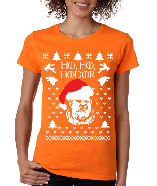 Women's T Shirt Ho Ho Hodor Ugly Christmas Sweater Holiday Top - ALLNTRENDSHOP - 4