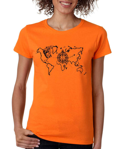 Women's T Shirt World Map Compass Cool Graphic Tee - ALLNTRENDSHOP - 2