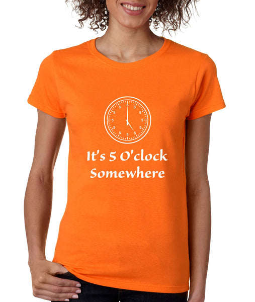 Women's T Shirt It's 5 O'clock Somewhere Drinking Beer Party Tee - ALLNTRENDSHOP - 5