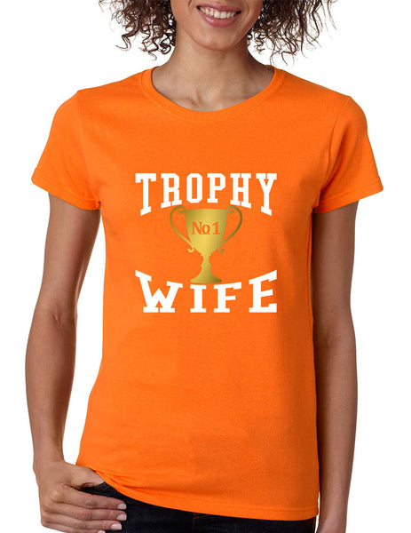 Women's T Shirt Trophy Wife Cool Xmas Love Family Holiday Gift - ALLNTRENDSHOP - 3