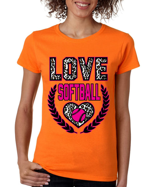 Love Softball Leopard women's T-Shirts - ALLNTRENDSHOP - 2