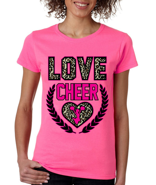 Love Cheer Leopard womens T-Shirts - ALLNTRENDSHOP - 1