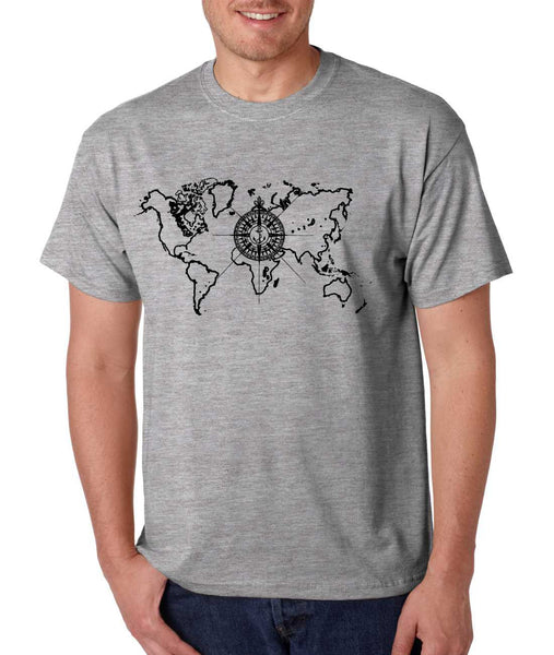 Men's T Shirt World Map Compass Cool Graphic Tee - ALLNTRENDSHOP - 2