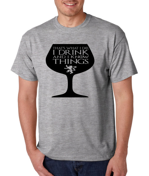 Men's T Shirt That's What I Do I Drink And Know Things Wing Glass Tyrion Lannister Top Game Of Thrones Inspired Tee - ALLNTRENDSHOP - 2