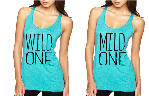 Women's Couple Tank Top Wild One Mild One BFF Set Matching Tops