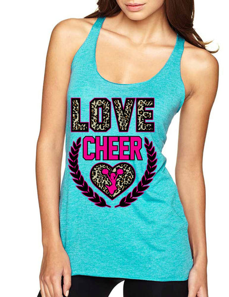 Love Cheer Leopard Womens Triblend Tanktop - ALLNTRENDSHOP - 5