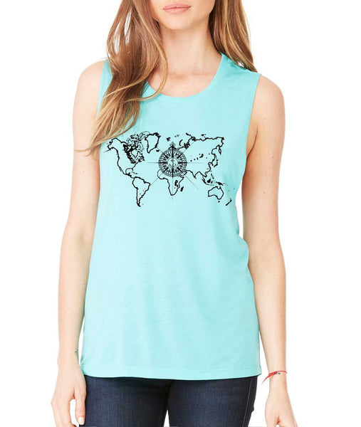 Women's Flowy Muscle Top World Map Compass Cool Tank - ALLNTRENDSHOP - 4