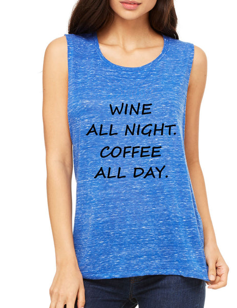Women's Flowy Muscle Top Wine All Night Coffee All Day Drunk - ALLNTRENDSHOP - 2
