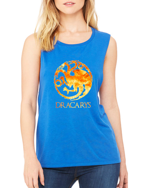 Women's Flowy Muscle Top Dracarys Tank Cool Tredy Top