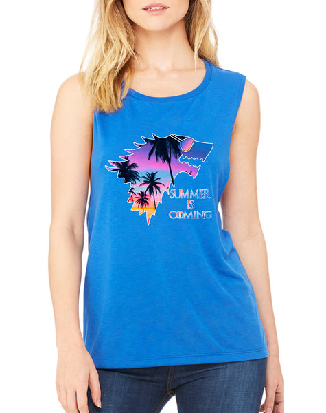 Women's Flowy Muscle Top Summer Is Coming Love Summer Fun