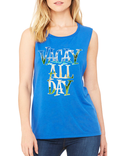 Women's Flowy Muscle Top Vacay All Day Vacation Beach Top