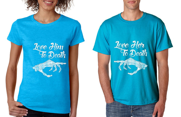 Love her Love him to death Couple shirts Valentines day - ALLNTRENDSHOP - 2