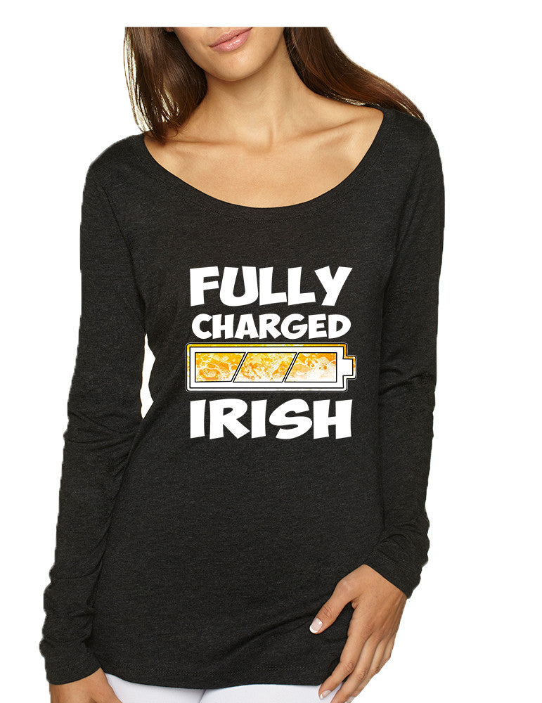 Women's Shirt Fully Charged Irish St Patrick's Day Funny Top - ALLNTRENDSHOP - 1