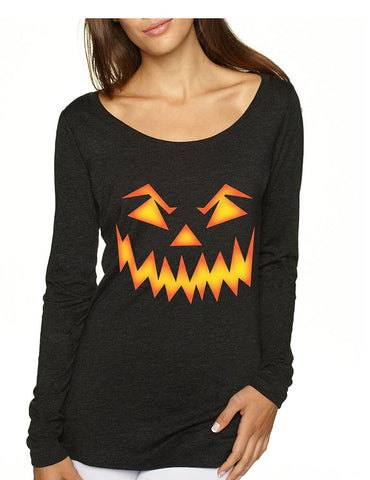 Women's Shirt Angry Pumpkin Face Cool Halloween Costume Idea - ALLNTRENDSHOP
