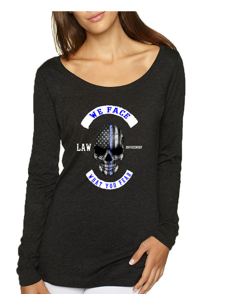 Women's Shirt We Face What You Fear USA Blue Flag Skull