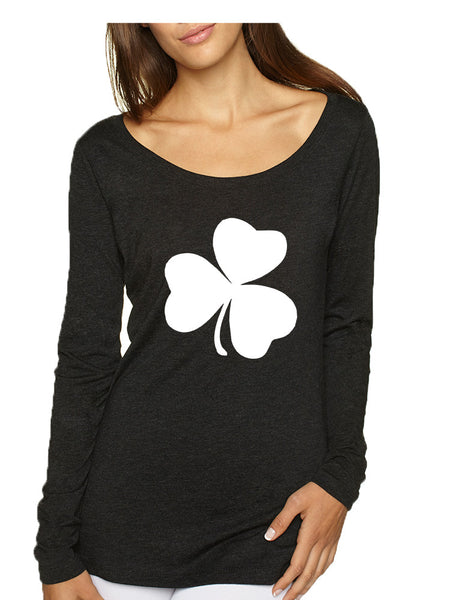 Women's Shirt White Shamrock Graphic St Patrick's Day Cool Top - ALLNTRENDSHOP - 2