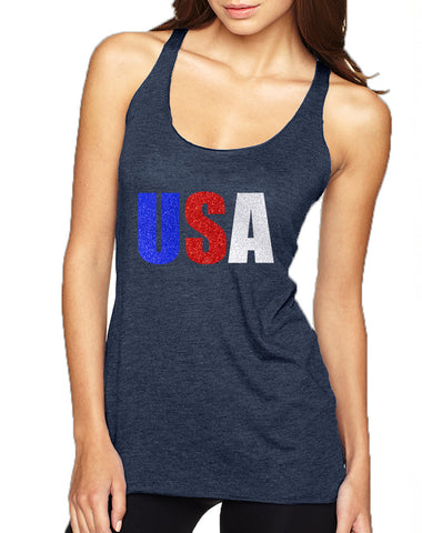 Women's Tank Top USA Glitter Flag Colors 4th Of July Tank