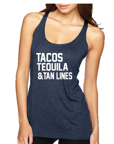 Women's Tank Top Tacos Tequila Tan Lines Beach Top