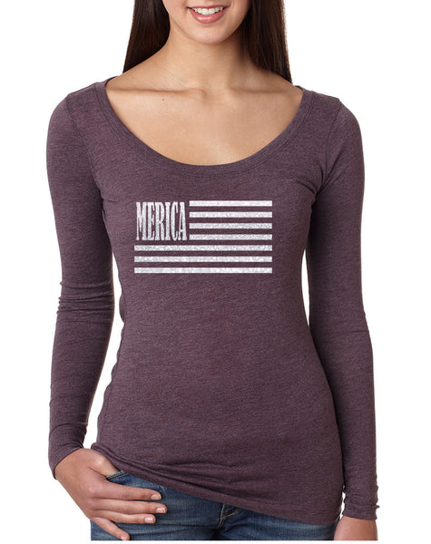 Women's Shirt Merica Glitter White Flag 4th Of July Shirt