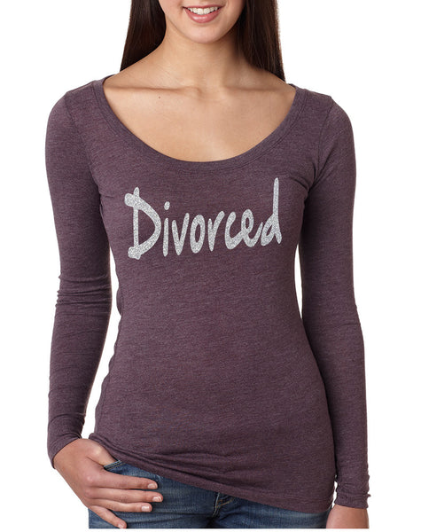 Women's Shirt Divorced Glitter Silver Print Funny Single Party