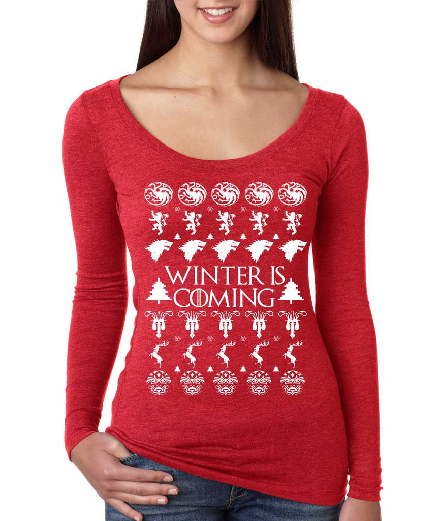 Women's Shirt Winter Is Coming Ugly Christmas Sweater Gift Fun