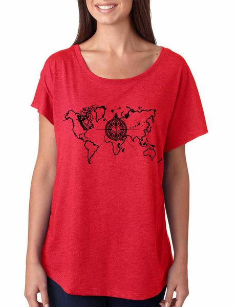 Women's Dolman Shirt World Map Compass Cool Nice Shirt - ALLNTRENDSHOP - 3
