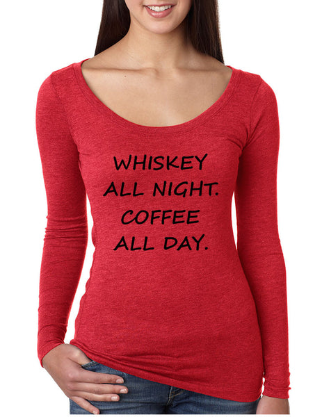 Women's Shirt Whiskey All Night Coffee All Day Party Humor Tee - ALLNTRENDSHOP - 4