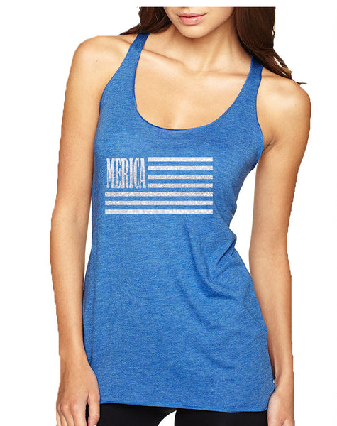 Women's Tank Top Merica Glitter White Flag 4th Of July