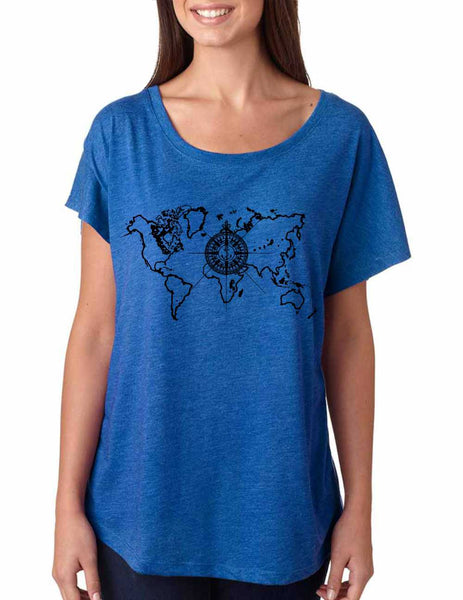 Women's Dolman Shirt World Map Compass Cool Nice Shirt - ALLNTRENDSHOP - 4