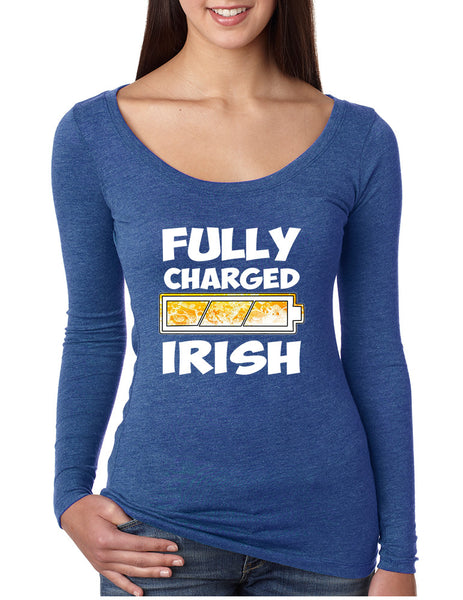 Women's Shirt Fully Charged Irish St Patrick's Day Funny Top - ALLNTRENDSHOP - 3