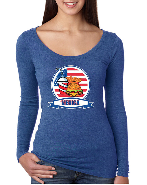 Women's Shirt Fast Food 'merica Love USA 4th Of July Tee
