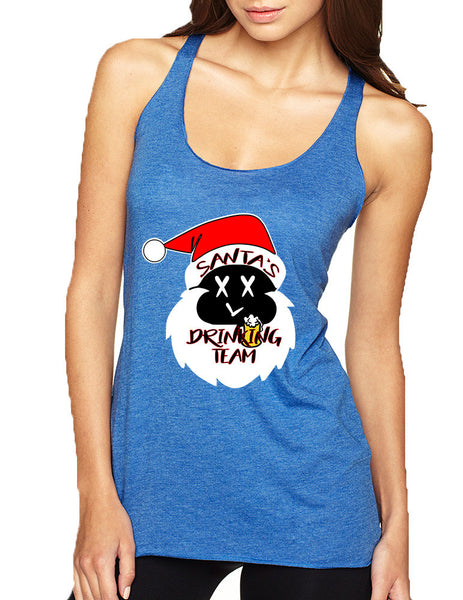 Women's Tank Top Santa's Drinking Team Funny Ugly Xmas Top - ALLNTRENDSHOP - 4