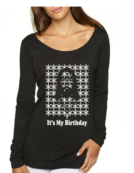 Its my birthday Jesus womens Long Sleeve Shirt - ALLNTRENDSHOP - 2